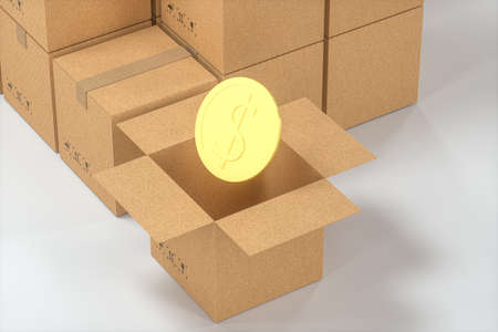 The cartons and COINS are on a white background, 3d rendering. Computer digital drawing.
