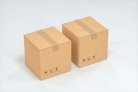 The cartons are stacked against a white background, 3d rendering. Computer digital drawing.