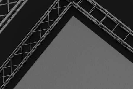 Steel reinforcement with dark background, 3d rendering. Computer digital drawing.