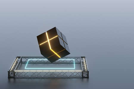 The cube floats above the glowing cubes, 3d rendering. Computer digital drawing. Banco de Imagens