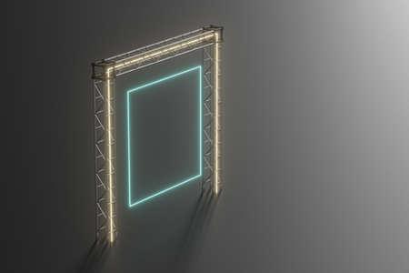 Steel frame and luminous cubes, 3d rendering. Computer digital drawing. Banco de Imagens