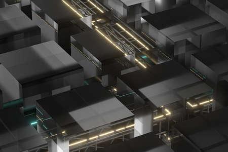 Steel frame and glowing cube, 3d rendering. Computer digital drawing. Banco de Imagens