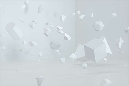Broken geometry with white background, 3d rendering. Computer digital drawing.