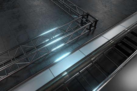 Polished metal frame, Black texture floor, 3d rendering. Computer digital drawing.
