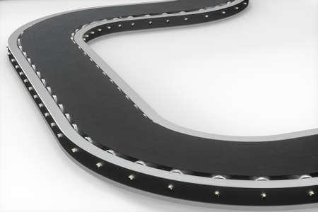 Black moving conveyor belt , black background, 3d rendering. Computer digital drawing.
