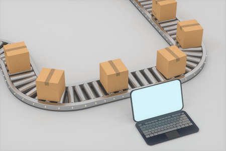 Boxes moving on the conveyor belt, laptop and conveyor belt ,3d rendering.Computer digital drawing.
