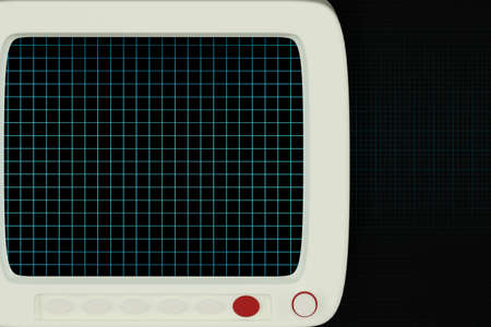 The monitor with black background,digital grid,3d rendering. Computer digital drawing. Stock Photo