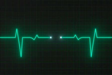 Glühende digitale Heartbeat-Linie, die auf dem Monitor reflektiert, 3D-Rendering. Digitale Computerzeichnung. Standard-Bild