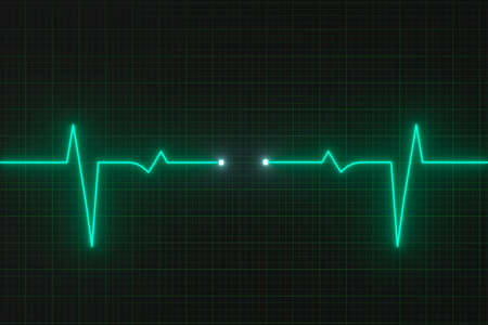 Glowing digital heartbeat line reflecting on the monitor, 3d rendering. Computer digital drawing. Stock Photo