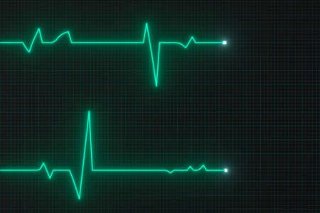 Linea di battito cardiaco digitale incandescente che si riflette sul monitor, rendering 3d. Disegno digitale al computer.
