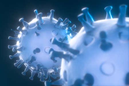 Verstreute Coronaviren mit dunklem Hintergrund, 3D-Rendering. Digitale Computerzeichnung. Standard-Bild