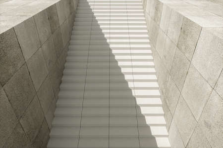 Steps and wall with grey background, modern construction,3d rendering. Computer digital drawing. Stock Photo