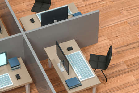 Office model with wooden floor,abstract conception,3d rendering. Computer digital drawing. Stockfoto