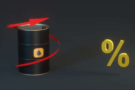 Oil barrel with black background,3d rendering. Computer digital drawing.
