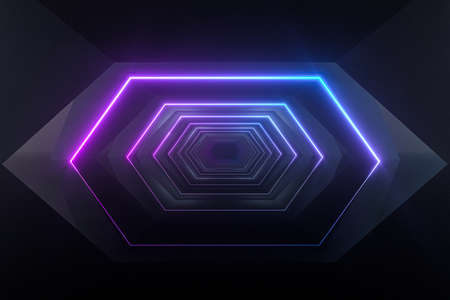Hexagonal tunnel with neon light, modern architecture, 3d rendering. Computer digital drawing.