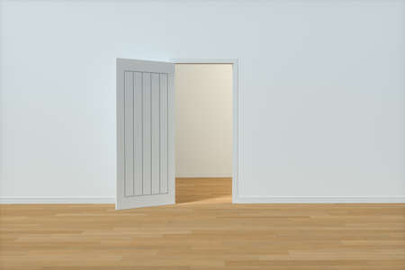 Wooden door with white wall background, 3d rendering. Computer digital drawing. Stockfoto