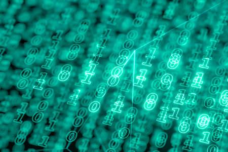 Digital binary data and streaming binary code background, 3d rendering. Computer digital drawing.