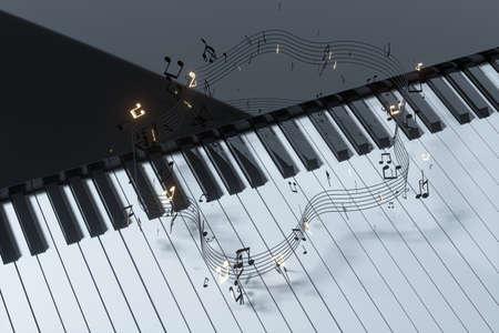 Piano keyboard and musical notes, 3d rendering. Computer digital drawing.