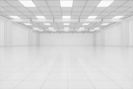 Capacious empty room, business background, 3d rendering. Computer digital drawing. Archivio Fotografico
