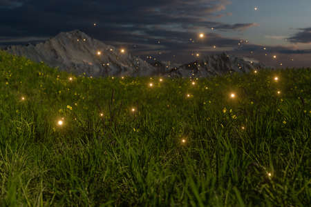 Flying glowworm over the grass field, 3d rendering. Computer digital drawing.