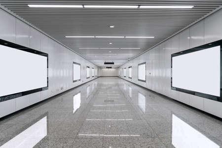 Blank advertisement billboard in the subway. Photo in Suzhou, China.