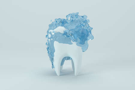 White tooth with blue liquid on it, 3d rendering. Computer digital drawing.