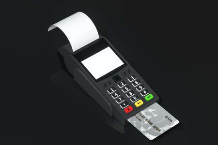 Swiping the POS machine, black background, 3d rendering. Computer digital drawing.