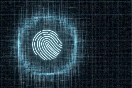 Fingerprint identification concept, technological background, 3d rendering. Computer digital drawing. Foto de archivo