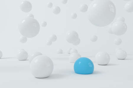 Bouncing soft balls with white background, 3d rendering. Computer digital drawing.