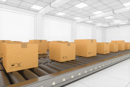 Transportation of the container box on the conveyer belt, 3d rendering. Computer digital drawing.