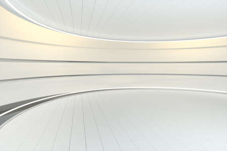 White round room, futuristic structure, 3d rendering. Computer digital drawing.