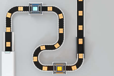 Transmitting of packaging box on the conveyor belt, 3d rendering. Computer digital drawing.