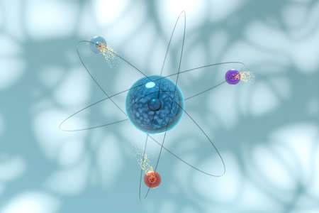 Atom spheres with blue organic background, 3d rendering. Computer digital drawing.