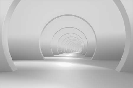Bright white tunnel background, 3d rendering. Computer digital drawing. Banco de Imagens