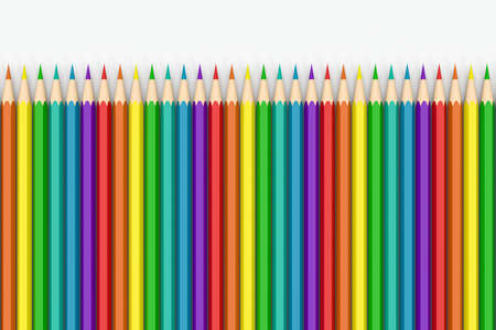 Colorful pencils in a row with white background, 3d rendering. Computer digital drawing. Foto de archivo