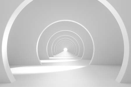 Bright white tunnel background, 3d rendering. Computer digital drawing.