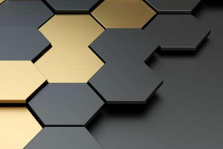 Dark and golden hexagon pattern background, 3d rendering. Computer digital drawing.