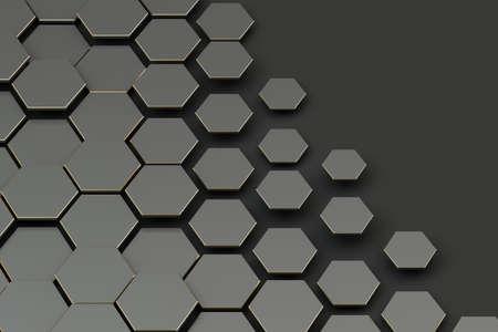 Dark hexagon pattern background, 3d rendering. Computer digital drawing. Banco de Imagens