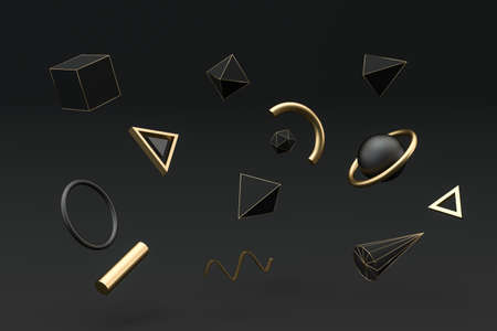 Golden and black abstract objects, 3d rendering. Computer digital drawing. Imagens