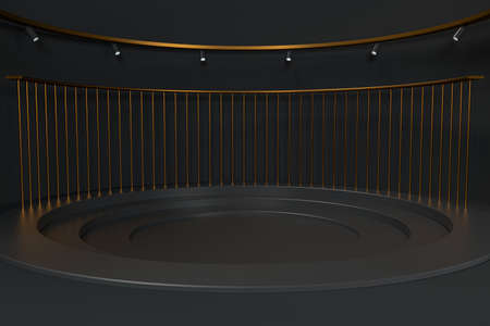 Empty round room, luxury showcase room, 3d rendering. Computer digital drawing.
