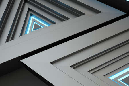Polished triangle metal frame, 3d rendering. Computer digital drawing.