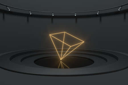 Luxury showcase room with glowing geometrical gem, 3d rendering. Computer digital drawing. Banco de Imagens