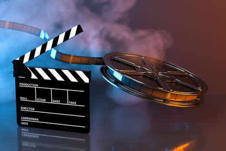 Clapper board and film tape with dark background, 3d rendering. Computer digital drawing. 写真素材