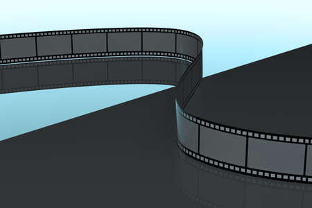 Film tapes with dark background, 3d rendering. Computer digital drawing.