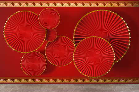 Red Chinese style fan, traditional decoration, 3d rendering. Computer digital drawing. Archivio Fotografico