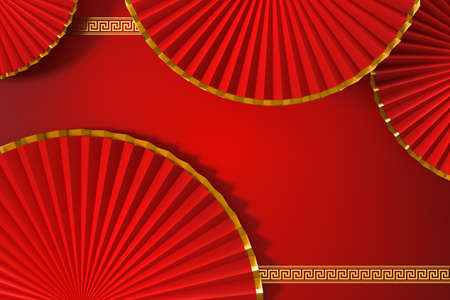 Red Chinese style fan, traditional decoration, 3d rendering. Computer digital drawing.