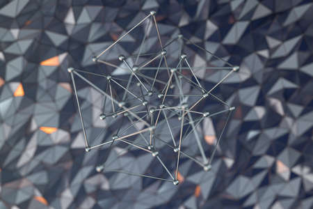 Metal lines with rugged metal triangle background, 3d rendering. Computer digital drawing.