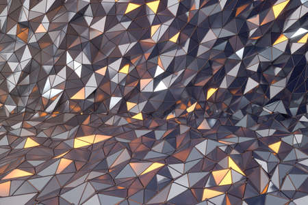 Rugged metal triangle background, 3d rendering. Computer digital drawing.