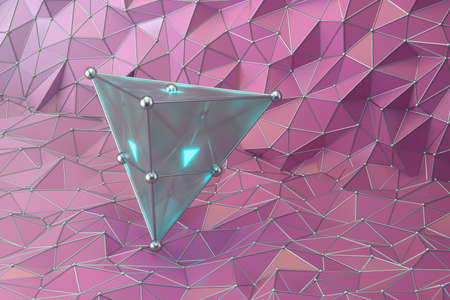 Triangle gem with triangle background, 3d rendering. Computer digital drawing.