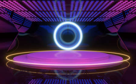 Neon light room with round stage in the center, 3d rendering. Computer digital drawing.